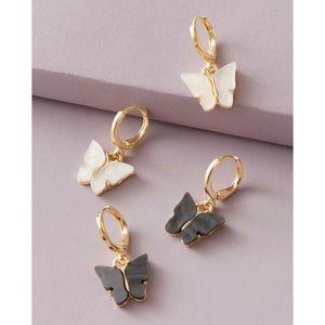 Jewelry - ⭐3/$30 | 2 Pc Black/White Butterfly Drop Earrings
